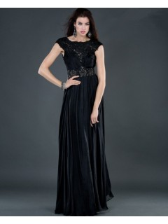 Sexy sheath backless long black beading chiffon evening dress with lace