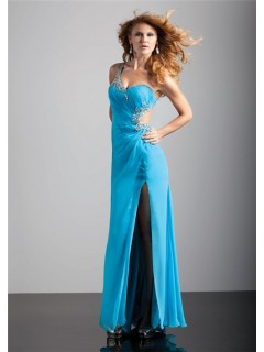 Sexy sheath one strap backless long blue chiffon prom dress with split