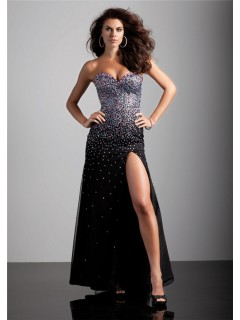 Sexy sheath sweetheart long black beaded chiffon prom dress with corset back