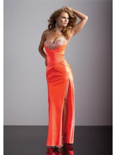 Sexy sheath sweetheart long orange silk prom dress with beading and slit