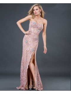 Sexy sheath sweetheart long pink beading lace evening dress with slit