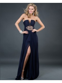 Sexy strapless front cut out long navy blue chiffon evening dress with slit