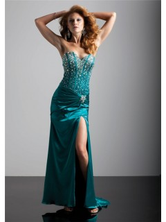 Sexy sweetheart long hunter green silk prom dress with beading and slit