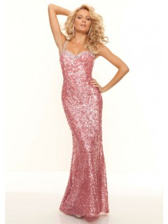 Sexy sweetheart long pink sequined backless prom dress with straps