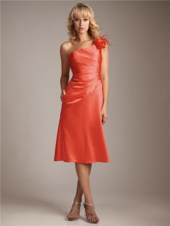 Sheath/Column asymmetrical one shoulder short coral silk bridesmaid dress
