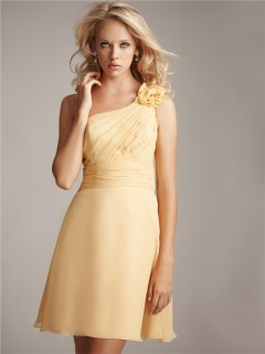 Sheath/Column asymmetrical one shoulder short pale yellow chiffon bridesmaid dress