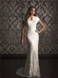 Sheath/ Column high neck sweep train modest lace wedding dress with short sleeves