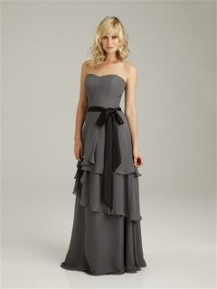 Sheath/Column sweetheart long grey chiffon bridesmaid dress with sash and ruffles