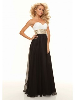 Sheath sweetheart floor length white black chiffon prom dress formal