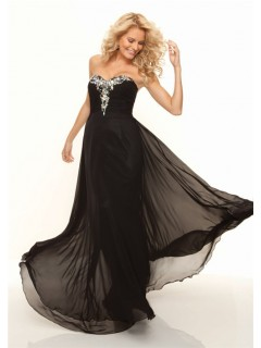 Sheath sweetheart long black chiffon prom dress with beading