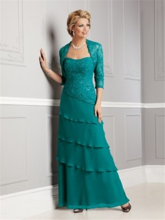 Sheath sweetheart long jade chiffon lace mother of the bride dress with jacket