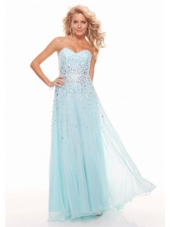Sheath sweetheart long light blue chiffon prom dress with beading