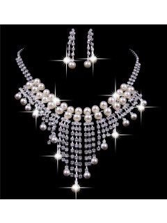 Shining Pearl Wedding Bridal Jewelry Set,Including Necklace and Earrings