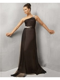 Simple A Line One Shoulder Long Black Chiffon Evening Wear Dress With Beaded