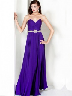 Simple A Line Sweetheart Long Lavender Chiffon Beaded Summer Evening Wear Dress
