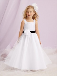 Simple A-line Princess White Tulle Designer Flower Girl Dress With Black Sash