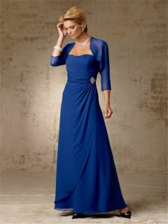 Simple A line long royal blue chiffon mother of the bride dress with jacket