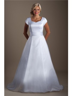 Simple Modest A Line Cap Sleeve Satin Corset Wedding Dress Court Train