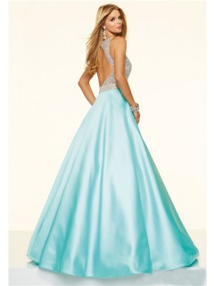 Sparkly Ball Gown Open Back Aqua Satin Beaded Prom Dress