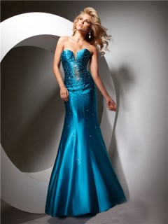 Sparkly Mermaid Sweetheart Long Teal Silk Party Prom Dress Beaded