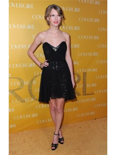 Strapless Short Little Black Chiffon Taylor Swift Inspired Dress