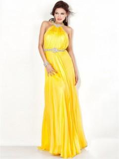 Stunning A Line Halter Backless Long Yellow Chiffon Evening Dress With Beading Belt