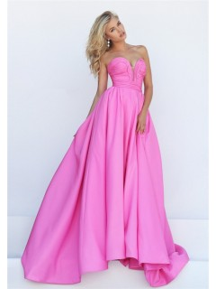 Stunning A Line Strapless Plunging Neckline Pink Taffeta Ruched Prom Dress
