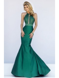 Stunning Mermaid Halter Cut Out Dark Green Taffeta Prom Dress Open Back