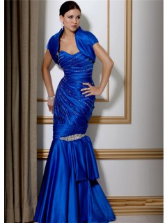 Stunning Mermaid Long Royal Blue Satin Beaded Evening Gown With Bolero Jacket