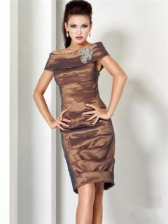 Stunning Off The Shoulder Short Brown Taffeta Tiered MOB Evening Dress