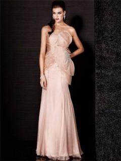 Stunning Sweetheart Long Light Pink Chiffon Evening Dress With Flower