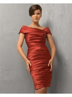 Tight Asymmetric Off Shoulder Short Coral Silk Pleated Evening Wear Dress