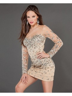 Tight Short/Mini Nude Beaded Tulle Club Cocktail Dress With Long Sleeves