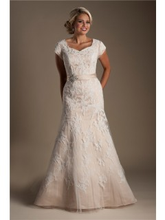 Trumpet Mermaid Cap Sleeve Champagne Satin Lace Modest Wedding Dress With Sash