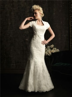 Trumpet/ Mermaid court train short sleeves wedding dress with collar