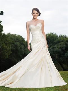 Trumpet/Mermaid sweetheart chapel train ivory wedding dress