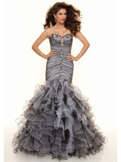 Trumpet/Mermaid sweetheart floor length black white organza prom dress with ruffles