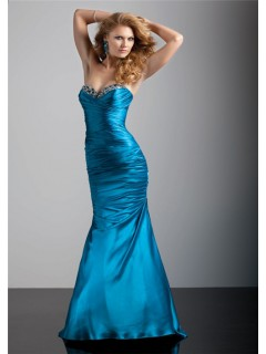 Trumpet/Mermaid sweetheart floor length blue silk prom dress with corset back