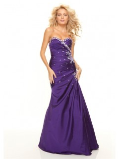 Trumpet/Mermaid sweetheart floor length purple taffeta prom dress with beading