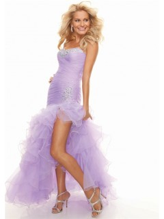 Trumpet/Mermaid sweetheart lilac high low prom dress with ruffles