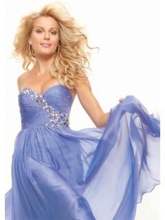 Elegant princess sweetheart long lavender chiffon prom dress with beading