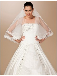 Two Layers Elbow Tulle Lace Wedding Bridal Veil