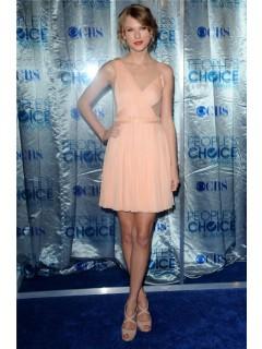 Unique Asymmetric Short/ Mini Peach Chiffon Swift Dress Inspired Dress