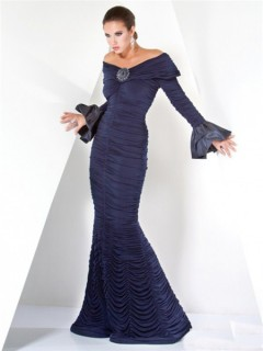 Unique Designer Mermaid Off Shoulder Navy Blue Evening Dress With Long Sleeve