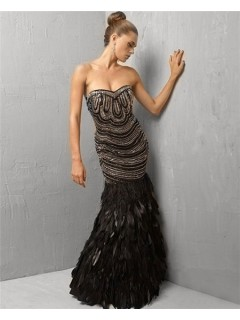 Unique Gorgeous Mermaid Strapless Long Black Feather Beading Evening Wear Dress