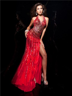 Unique Sexy Halter Backless Long Red Silk Beading Sequins Evening Prom Dress With Slit