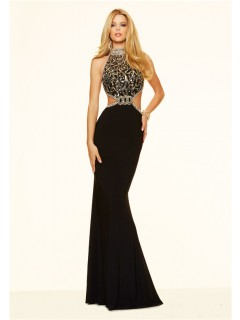 Unqiue Sexy Side Cut Out Backless Black And Gold Beaded Prom Dress