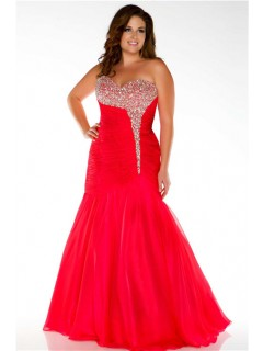 Unusual Mermaid Strapless Long Cherry Red Chiffon Beaded Plus Size Prom Dress