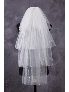 Unusual Tiered Tiers Tulle Beaded Pearls Fingertip Length Wedding Bridal Veil