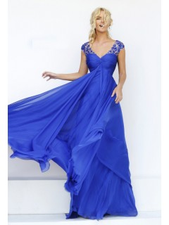 V Neck Cap Sleeve Open Back Empire Waist Royal Blue Chiffon Flowing Prom Dress